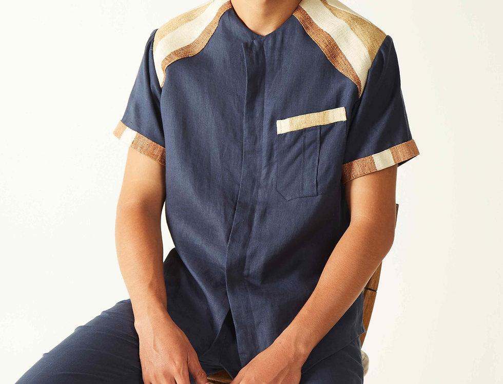 Men Linen Blue Ulap Doyo Shirt with Shoulder Accent