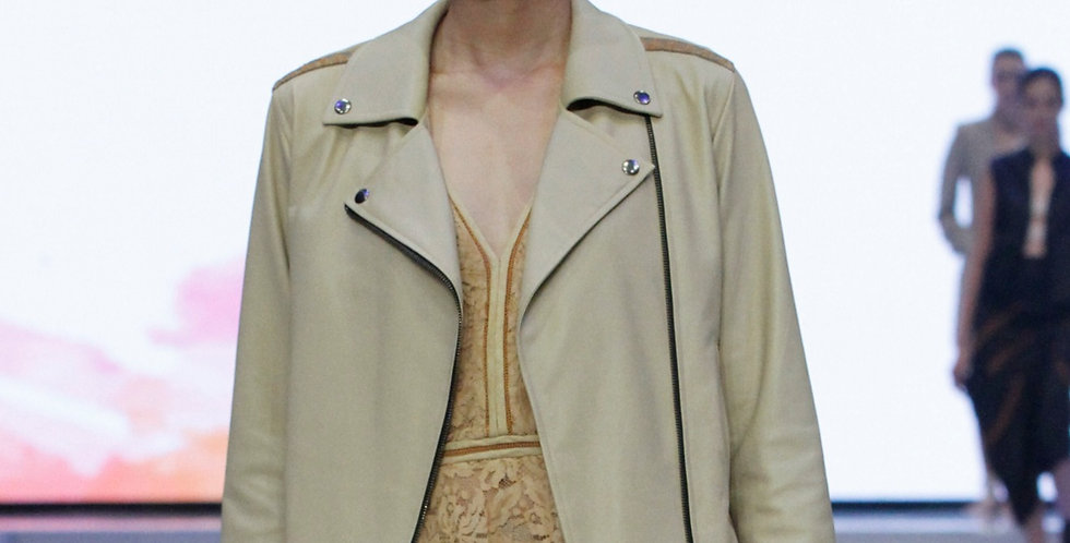 Cream Leather Bikers Jacket