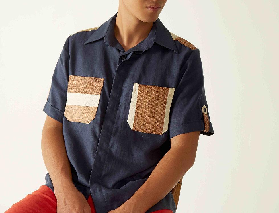 Men Linen Blue Ulap Doyo Shirt