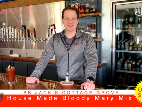 For only $7.00 you can pick up some of our house-made Bloody Mary mix that includes Vodka.