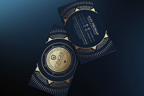 Premade Gold & Blue Business Card Pack
