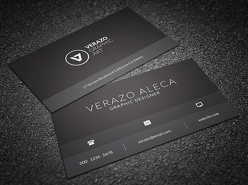 Premade Black Minimal Business Card Package