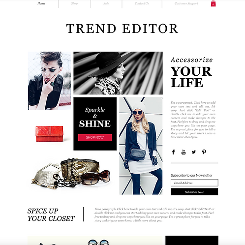 Premade Fashion Accessory Web Design Package