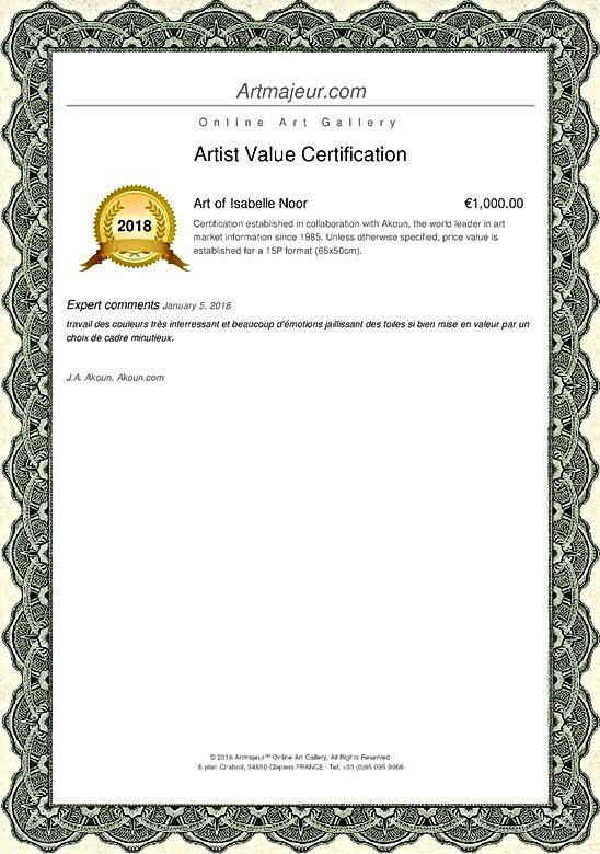 Art of Isabelle Noor Artist Value Certification