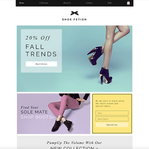 Premade Shoe Boutique Web Design Package