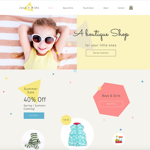 Premade Kid's Boutique Web Design Package