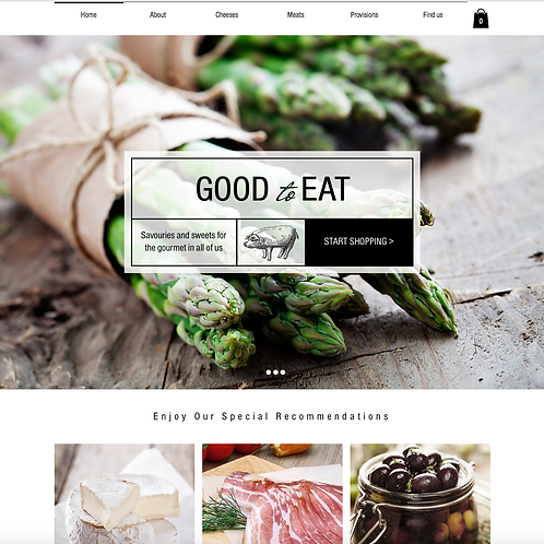 Premade Luxury Food Store Web Design Package