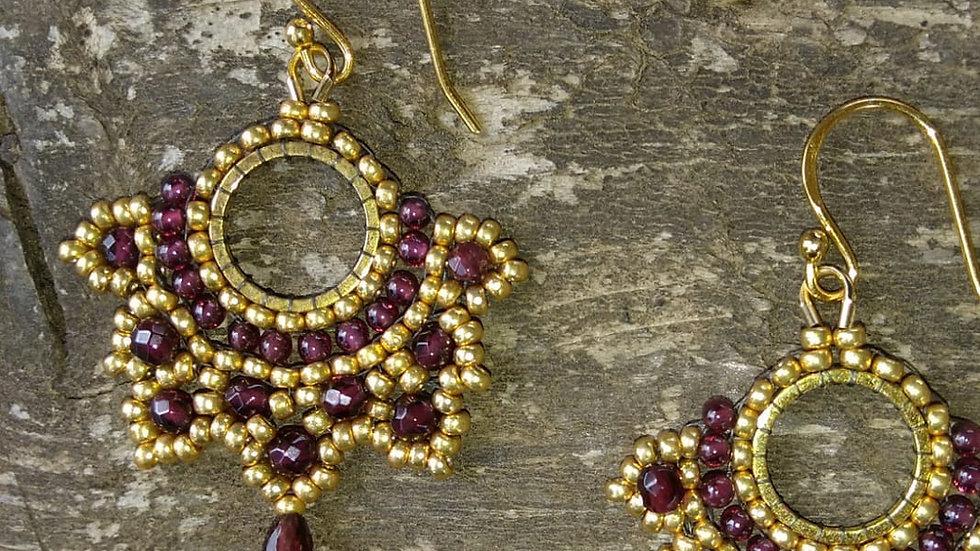 Gold garnet earrings