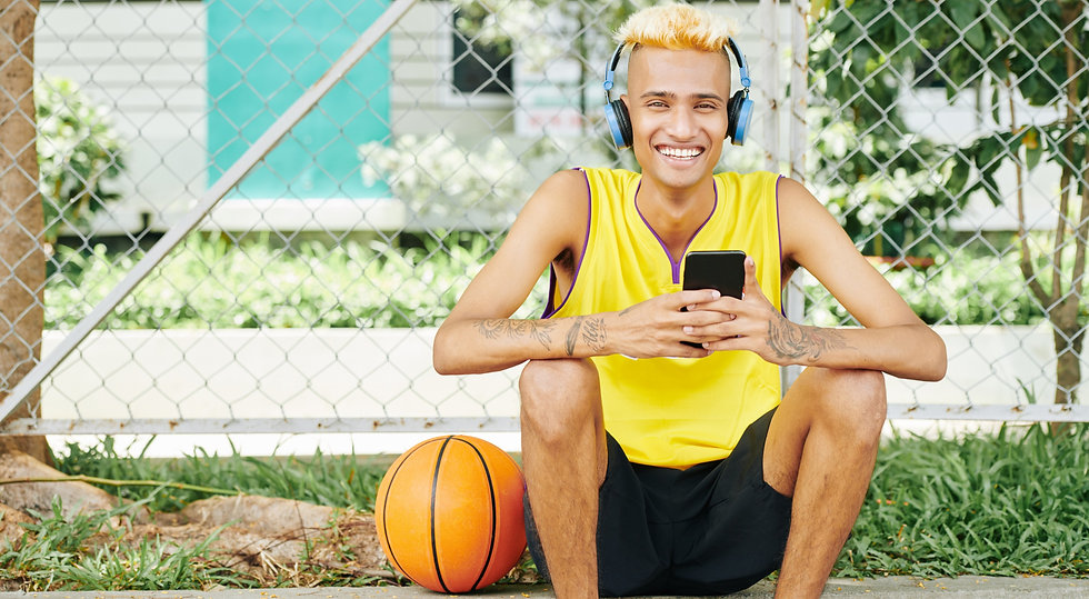 Cheerful-basketball-player-resting-46067