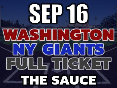 Washington vs NY Giants Full VIP Ticket September 16th