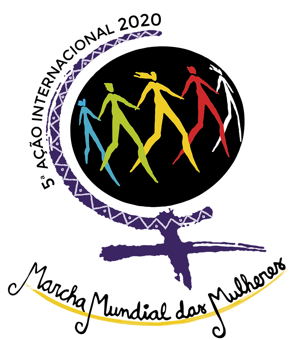 """Descrição da imagem: Logo com as palavras """"5ª ação internacional 2020 marcha mundial das mulheres"""". A ilustração tem a forma do símbolo de feminino, um círculo em cima e linhas em cruz embaixo. Dentro do círculo, há o desenho de cinco mulheres de mãos dadas, cada uma de uma cor: azul, verde, amarela, vermelha e branca."""