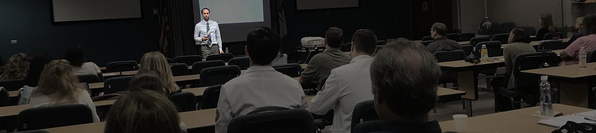 seminar wide shot highlighting dr matthew robin