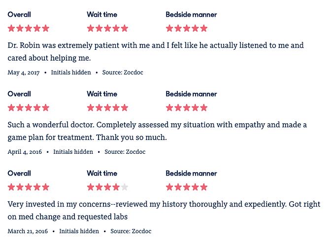 dr robin reviews