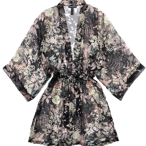 Samantha Chang Silk Chiffon Short Robe in Midnight Jade
