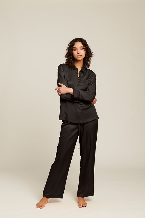 Ginia Washable Silk Pyjama in Black