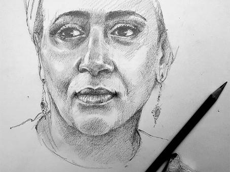Pencil Portrait with Carole Massey