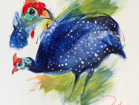 Painting wild and free Tarentaal (Guineafowl) with Derric van Rensburg