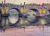 San Angelo Bridge Sunset, Rome