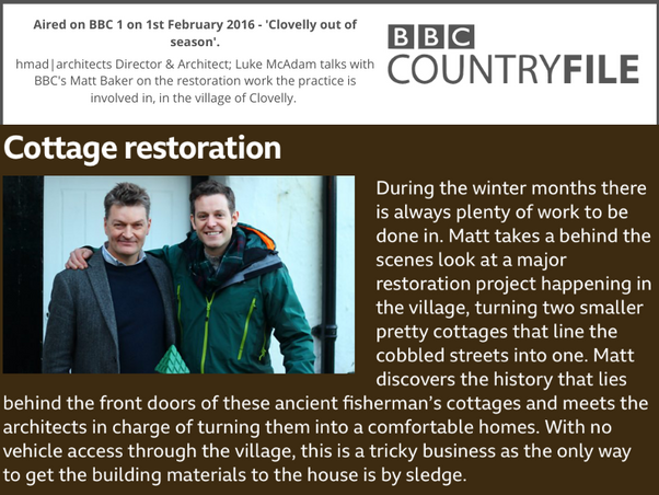 BBC 1 Countryfile - Clovelly out of Season episode with Matt Baker