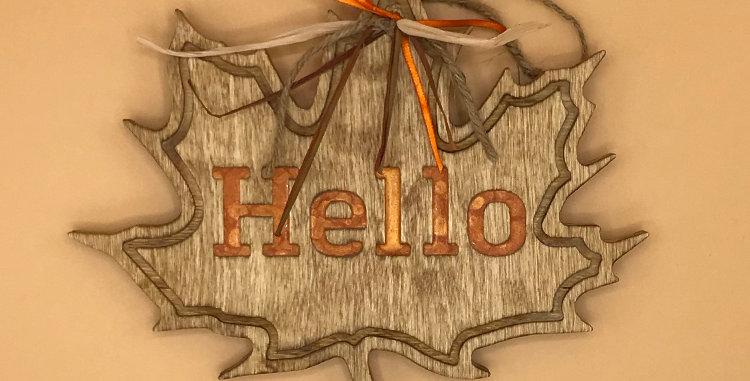 Hello Fall Leaf  Hanger- Orange
