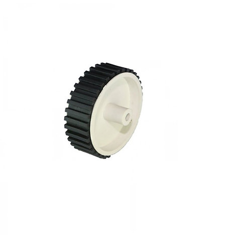 Wheel 7cm Diameter 6mm Hole for DC Geared Motor - White Tyre with Grip & Shaft