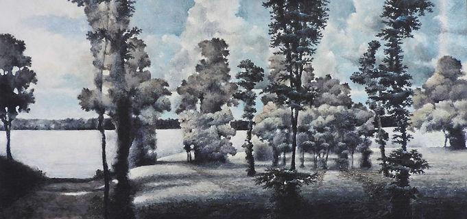 """Kempenfelt Formal Gardenavailable24"""" x 48"""" tempera on canvas, unframed."""