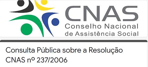 Banner com logo do CNAS e o texto Consulta Pública sobre a Resolução CNAS nº237/2006