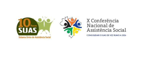 Logo de 10 anos do SUAS e Logo da 10ª Conferência de Assistência Social
