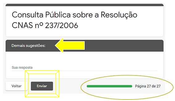 Página final do formulário indicando o botão Enviar para registrar a participação