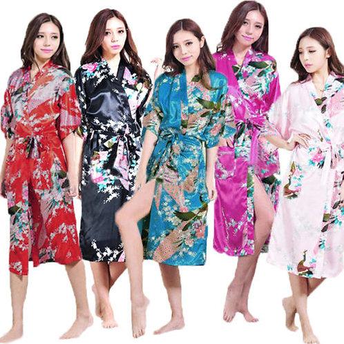 Kimono Silky Bath Gown Peacock