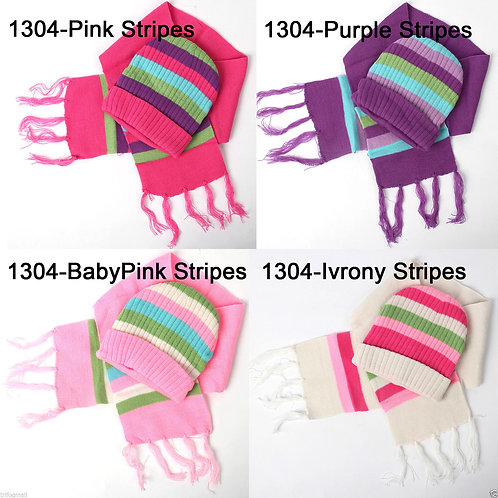 Kids Hat & Scarf 2 Set Bear Stripes 1304