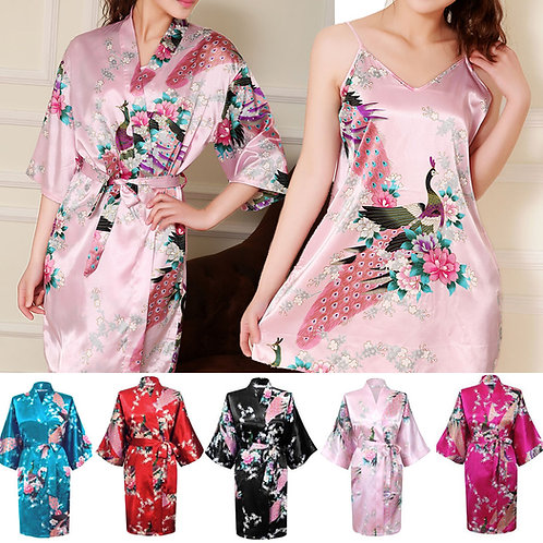Nighty+Kimono Set Silky Bath Gown Peacock