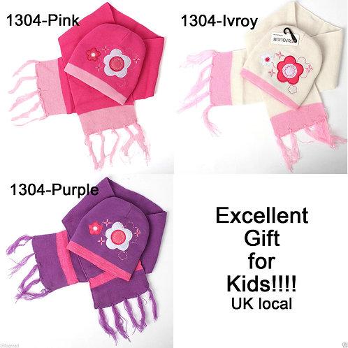 Kids Hat & Scarf 2 Set Flower Stripes 1304 Pink