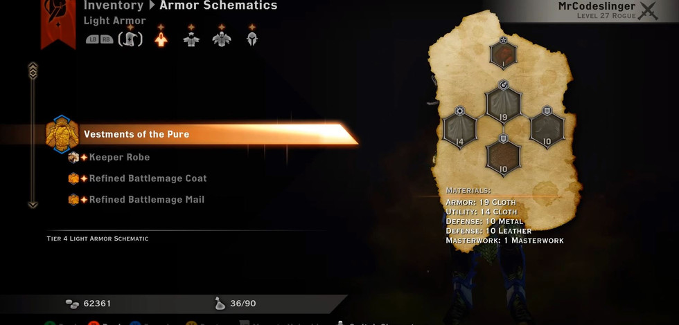 Items and Crafting Schematics