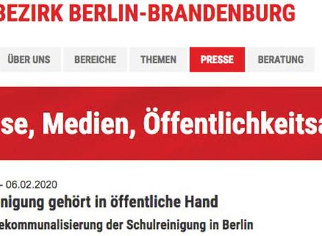 DGB Berlin-Brandenburg unterstützt die Rekommunalisierung der Schulreinigung