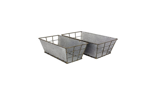 Rectangle Galvanized Metal Basket Set of 2