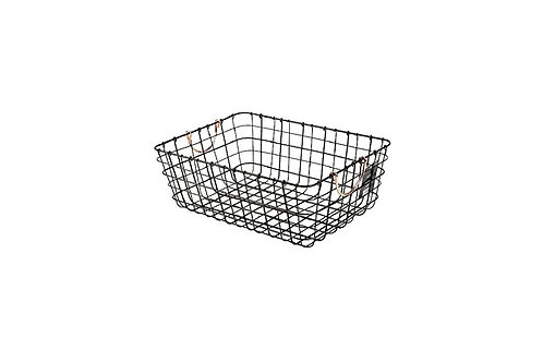 Antique Pewter Basket with Copper Handles