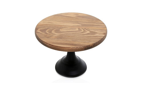 Round Wooden Pedestal Display Stand with Black Base