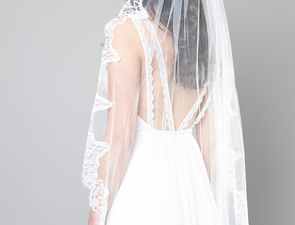 Wide Lace Edged Veil
