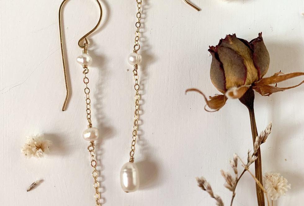 Pearl Chain Drop Earring