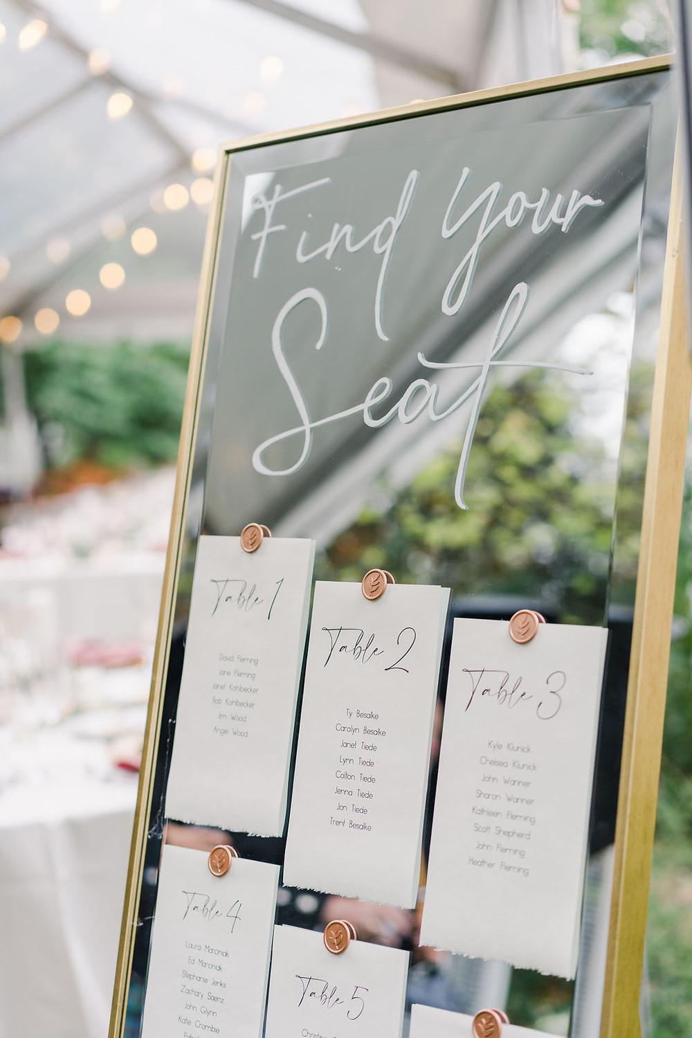 wedding seating chart & rsvps