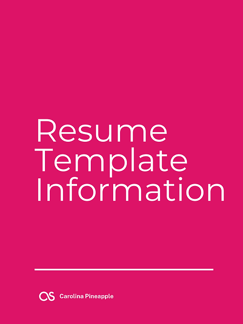 Resume Template Information