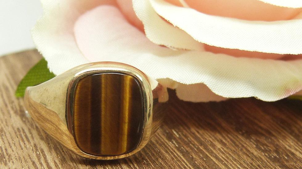 9ct Yellow Gold Tigers Eye Signet Ring