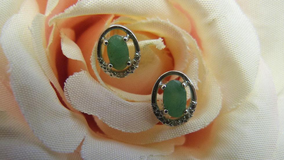 9ct Yellow Gold Emerald & Diamond Earstuds