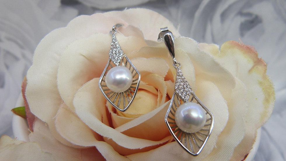 Silver Deco Inspired Pearl & CZ Earrings