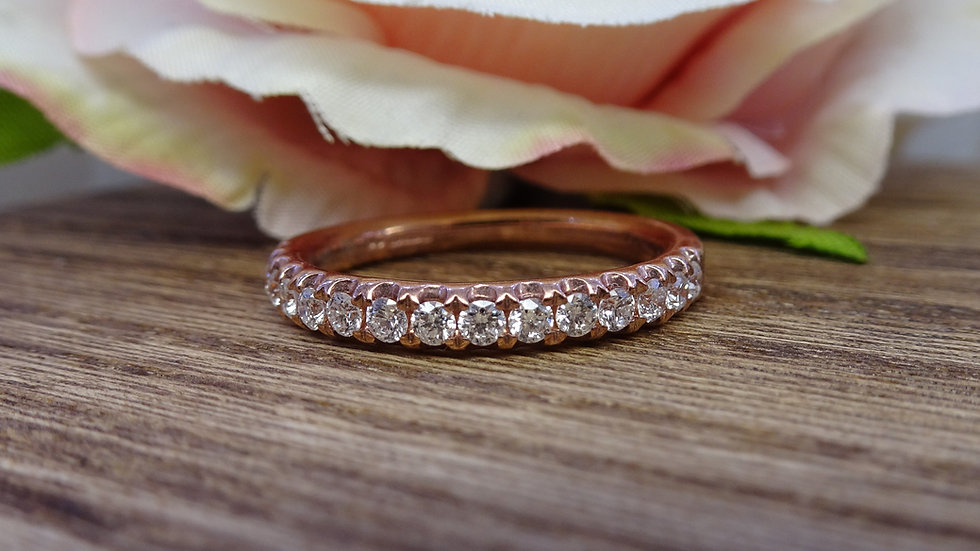 18ct Rose Gold 1/2 Hoop Diamond Eternity Ring
