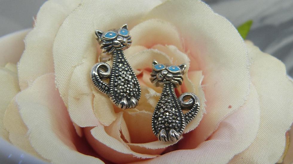 Silver Marcasite & Enamel Cat Earrings