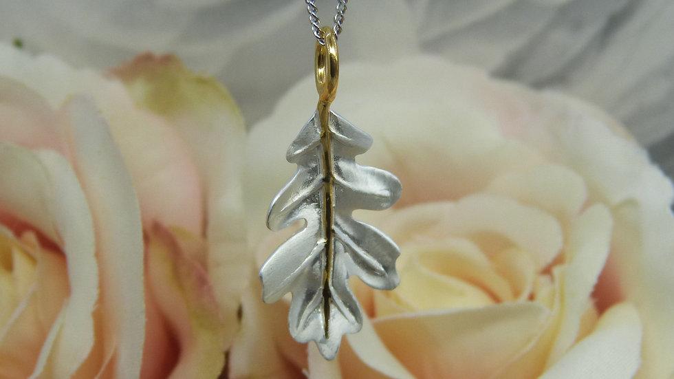 Silver & Gold Plated Oak Leaf Necklace