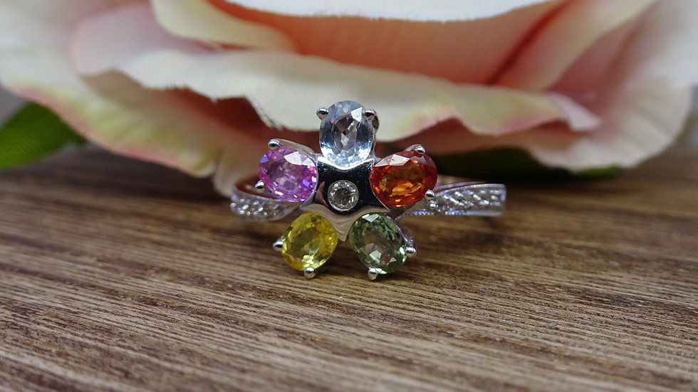 18ct White Gold Mixed Sapphire and Diamond Flower Ring