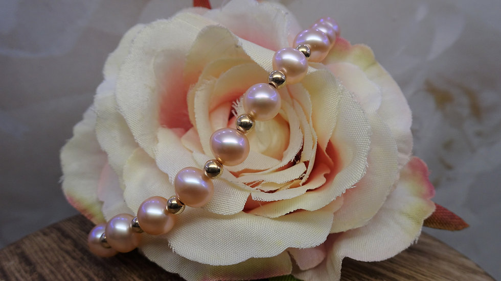9ct Yellow Gold & Pink Freshwater Pearl Bracelet